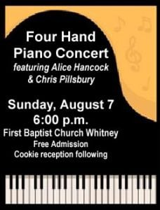 Everyone is cordially invited to a  Four Hand Piano Concert @ First Baptist Church of Whitney