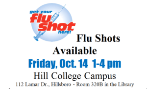 Flu Shots Available @ Hill College Campus | Hillsboro | Texas | United States