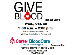 Give Blood @ Whitney Brookshire's Parking Lot