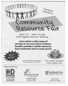 Community Resource Fair @ First Baptist Church Whitney