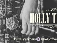 Holly-website photo shoot-B & W mic in hand with logo